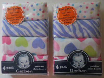Gerber Prefolded Cloth Diapers 8-Pack Set of 2 Color Multicolor New