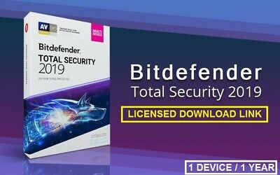 Bitdefender Total Security 2019 | 1 Year | 1 Device / LICENSED DOWNLOAD LINK