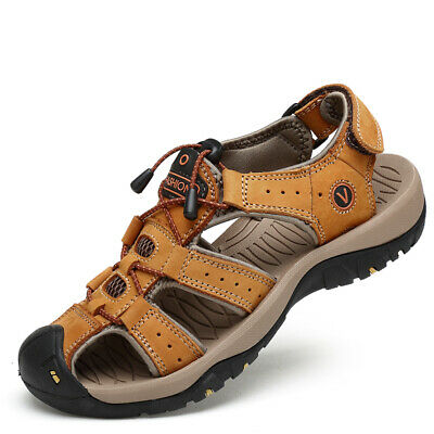 Men's Outdoor Hiking Genuine Leather Sandals Hollowed Camping Fisherman Shoes