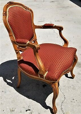 Antique Vtg French Provincial Louis XV Style Hand Carved Wood Bergere Armchair