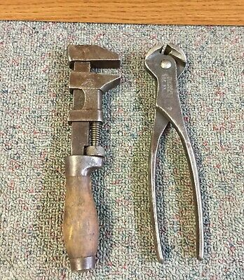 "2 OLD Vintage WRENCHES Adjustable 8"" Long WRENCH Pipe  Tool WOODEN HANDLE"