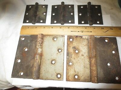 "Rare 200 Year Old Big Door Hings 5"" X 5 1/2""  Antique Forged + 3 Small Removable"