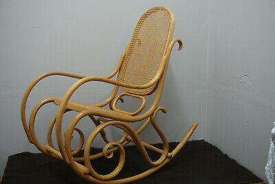 Vintage Thonet Cane Bentwood Rocking Chair Rocker Signed And Numbered