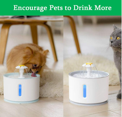 2.4L Automatic Pet Cat Dog Electric Water Fountain Drink Dispenser Water Bowl