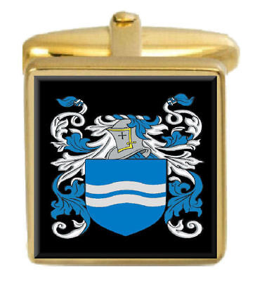 Select Gifts Macpartland Scotland Family Crest Coat Of Arms Gold Cufflinks Engraved Box
