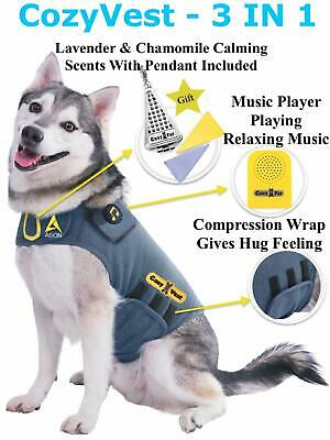 Dog Anxiety Separation Thunder Shirt Coat Vest Jacket + Music + 2 Lavender Scent