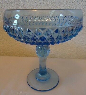 Ice Blue Indiana Glass Diamond Pattern Pedestal Compote