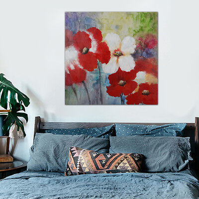 Modern Abstract Flowers Canvas Oil Painting Pictures Wall Art Home Decor Framed