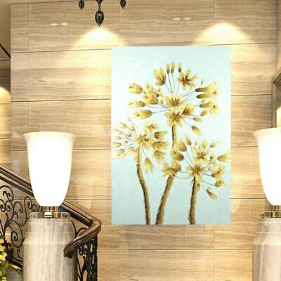 Modern Abstract Hand-Painted Oil Painting Stretched Canvas - Golden Tree Framed