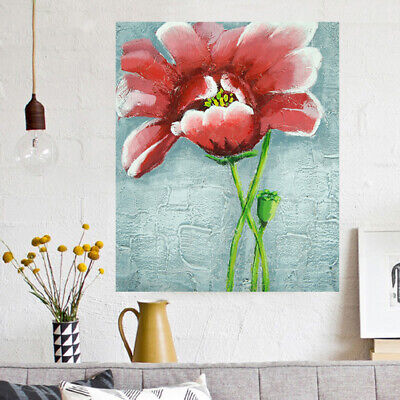 Hand-Painted Oil Painting - Red Flower| Abstract Wall Art Home Decor Framed