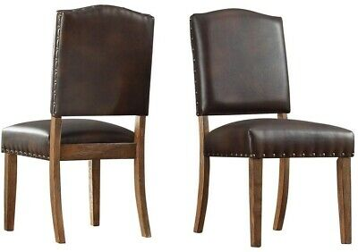 Dining Chair Cushioned Seat Leather Upholstery Vintage Wood Chocolate (Set of 2)