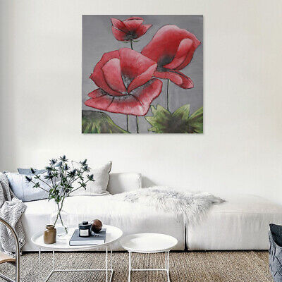Modern Abstract Oil Painting on Canvas Wall Art Home Decor Framed Red Flowers