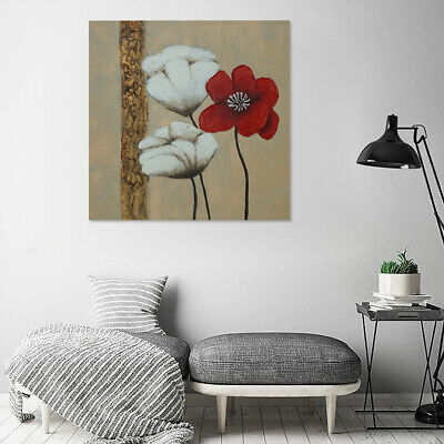 Hand-painted Abstract Poppy Flowers Oil Painting On Canvas Wall Art Decor Framed