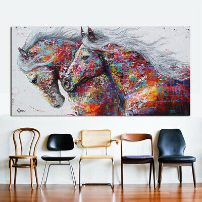 2 Running Horse Animal Figure Abstract Wall Art Oil Painting Canvas Painted Post