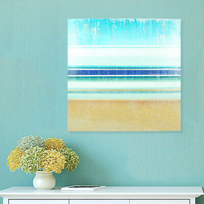 Blue Seascape Seaside Canvas Hand Painted Oil Painting Framed Ready To Hang