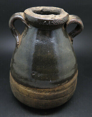 Rare Ancient Greek Pottery Pot With Brown Glaze