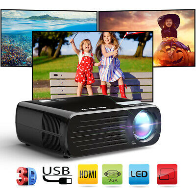 8000 Lumens Mini Home Projector LED 1080P HD 3D Multimedia HDMI VGA For Android