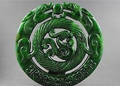 CHINESE OLD HANDWORK CARVED JADE DRAGON PHOENIX PENDANT#a2013