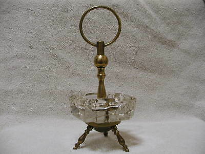 Mid Century Clear Glass Ashtray Brass Pedestal