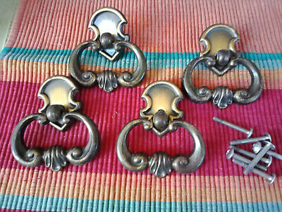 4 Vintage Antique Style brass furniture handles