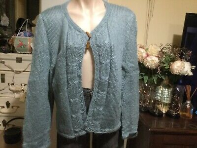 Women's Vintage Hand Knit Cardigan Pale Green Mohair Toggle Fastener Size 12-14