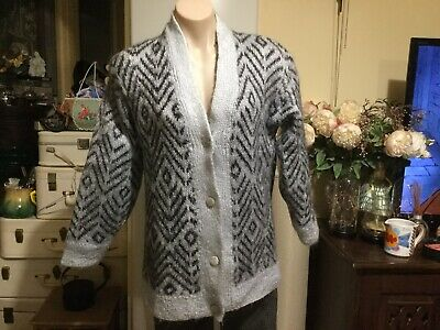 Women's Vintage Chunky Cardigan Grey Black Mohair Blend Lined Size 10-12