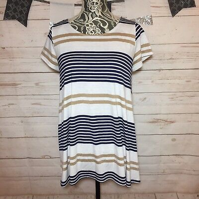65d48999f56 Anthropologie Puella Womens Striped Knit Swing Tunic Top Flowy Lose Fit  Size M
