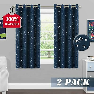 Navy Stars Curtain 100% Blackout Thermal Insulated Grommet for Kids Room/Bedroom