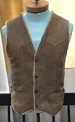 HANDSOME! Genuine Shearling Leather Men's Vintage Snap Front Western Vest Suede