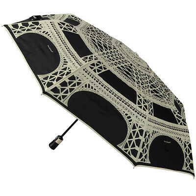 NEW Guy de Jean Black & Cream Eiffel Auto Folding Umbrella