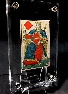 Authentic King Rare Antique Playing Cards Historic Stencil Painted French Single