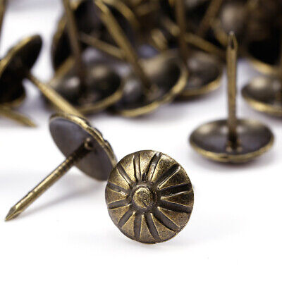 100 Set Decorative Upholstery Nails Studs Tacks Antique Brass Finish Pins DIY