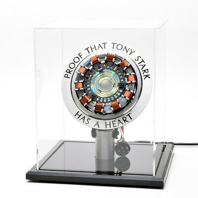 Iron Man Arc Reactor MK1 Tony Stark Heart LED Light Metal Movie Prop w/ Show BOX