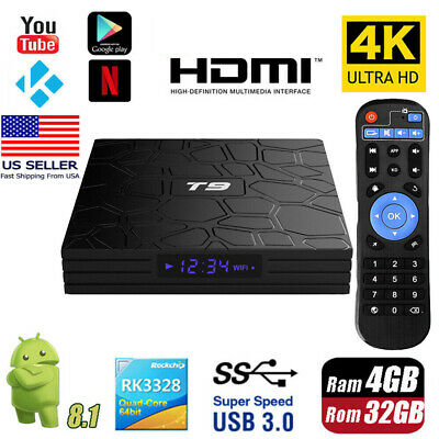 T9 4G+32G ANDROID 8 1 Smart TV BOX RK3328 Quad Core 4K WiFi