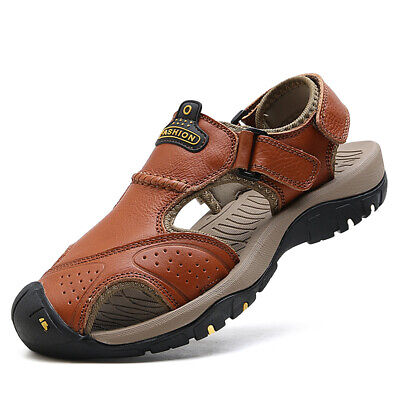 Men Sandals Casual Leather Closed toe Sports Shoes Hiking Fisherman Summer Big S