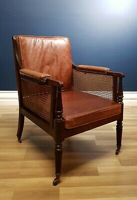 FREE DELIVERY - Fine Gillows English Georgian Bergere Armchair, Mahogany 1800