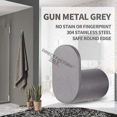 Bathroom Gun Metal Grey Wall Robe Hook SUS 304 Door Single Hanger Towel Rack