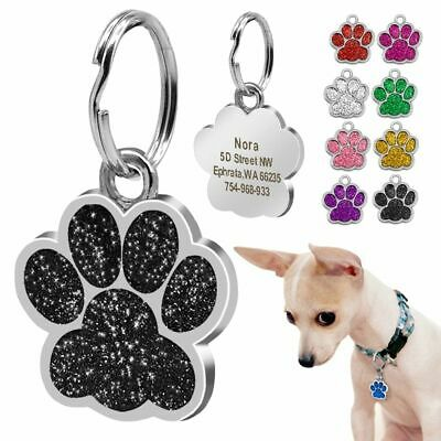 Personalized Tags Dog ID Small Dogs Customized Rhinestone Pets Accessories Paw