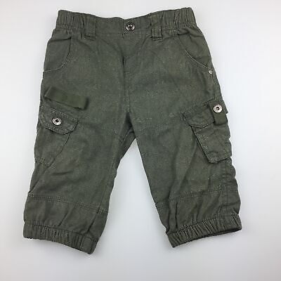 Boys size 0, Dymples, khaki cotton cargo pants, elasticated, EUC