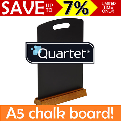 Quartet A5 Menu Chalk Board Wooden Stand Restaurants Cafes Table Top Counter BLK