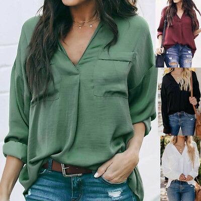 Fashion Women Pure Color Casual Top T Shirt Ladies Long Sleeve Blouse Colorful