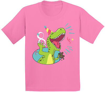 8th Birthday Youth Shirt Kids Party Funny Dinosaur Shirts