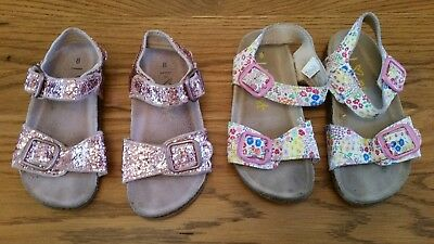 2 pairs Next Girls Pink Glitter & Floral Buckle Sandals Size 8