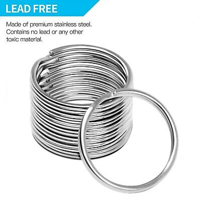 20Pcs Steel Keyrings Split Key Rings 25mm Hoop Ring Nickel Plated Steel Loop Y1