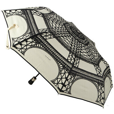 NEW Guy de Jean Cream & Black Eiffel  Auto Folding Umbrella