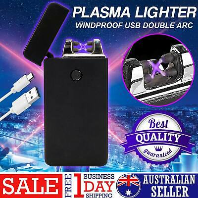 Lighter Electric Rechargeable Double Arc USB Windproof Flameless Plasma Torch AU