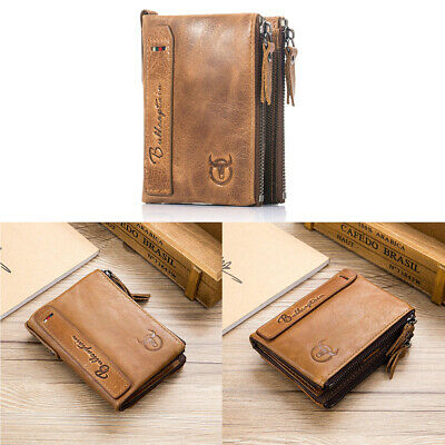Mens Leather Wallet Credit Card Money Holder Short RFID Zipper Purse Rectangle