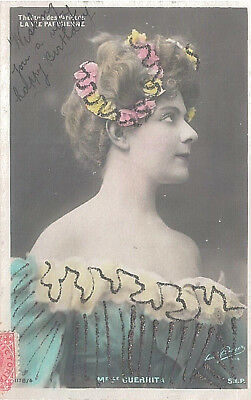 Vintage Coloured and Embellished Postcard French Actress c.1900s