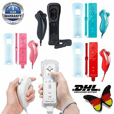 For Nintendo Wii / U ORIGINA 2 in 1 Remote Motion Plus Controller & Nunchuk DHL