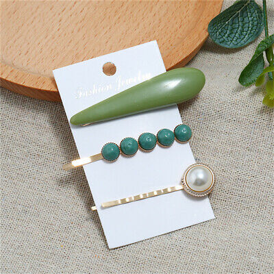 Women Elegant Fashion Red Resin Pearl Candy Sweet Hair Clips Set ONE